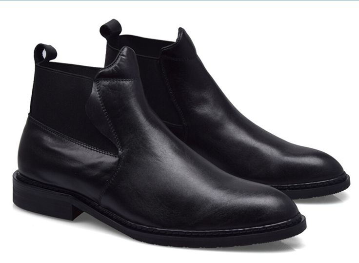 Fashion black mens ankle boots business shoes genuine leather motorcycle boots mens wedding shoes