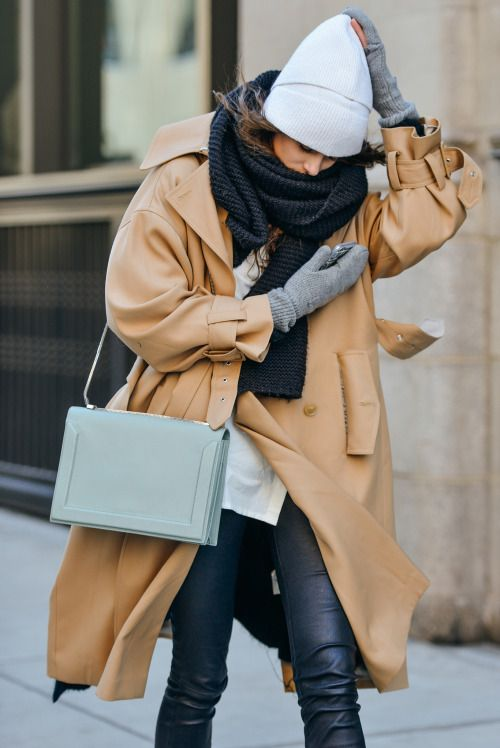 Camel Coat with a Celine bag, gray beanie hat, and mittens | Winter Fashion | Winter Coats | Winter Outfit Ideas