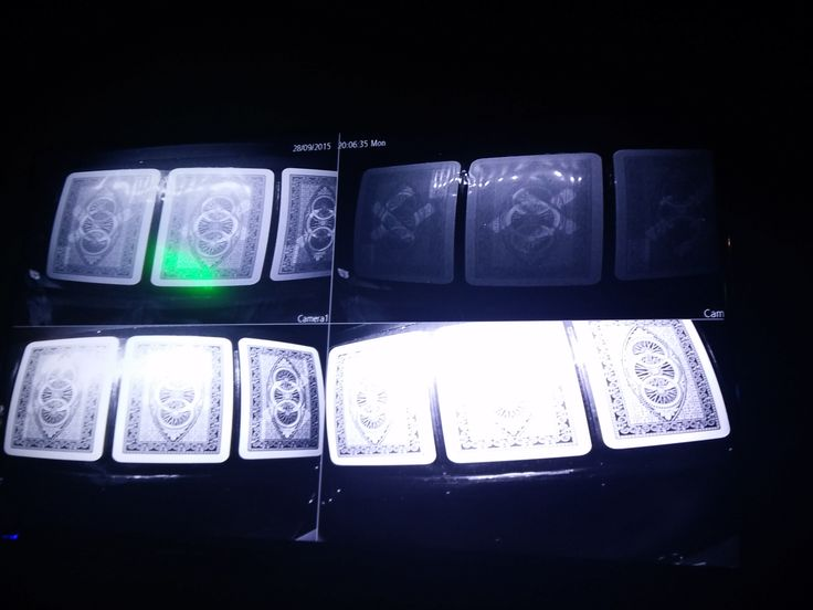 "On the bottom row, the cards are being scanned by a computer application & on the top row, the video shows which cards are marked, either by a green spot or a white ""X"". #MarkedCards #Cheating"