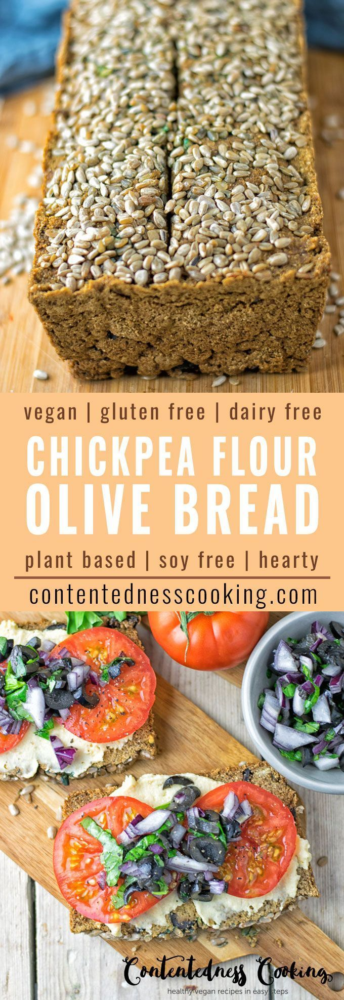 My Olive Chickpea Flour Bread recipe brings you a fresh homemade vegan and gluten free bread with extra flavor. Using my Olive Hummus in combination with chickpea flour results in a hearty taste that will blow you away. And you make this homemade bread sensation from only 5 ingredients.