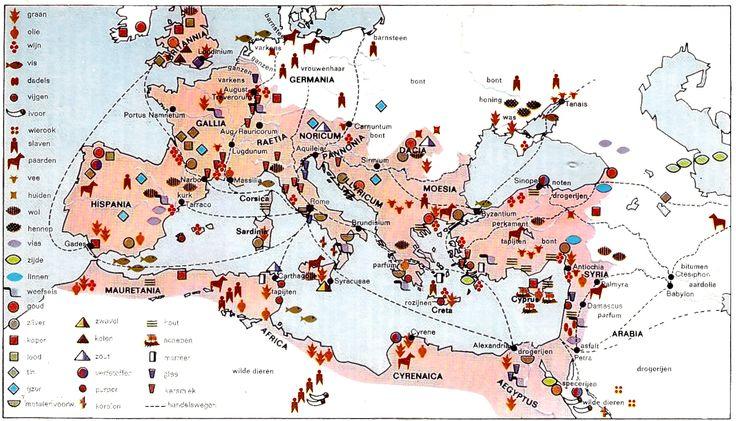 De economie in het Romeinse Rijk. Bron: Sesam Atlas bij de wereldgeschiedenis (Baarn, 1965)