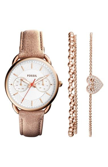 Fossil 'Tailor' Multifunction Leather Strap Watch & Bracelet Box Set, 35mm | Nordstrom