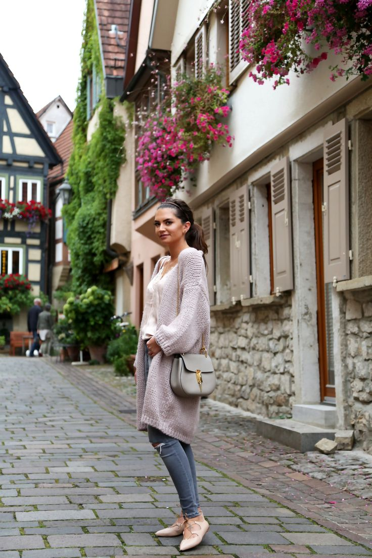 FashionHippieLoves. Ivory blouse+blush wool long cardigan+ripped jeans+nude lace-up flats+taupe shoulder bag. Fall Outfit 2016