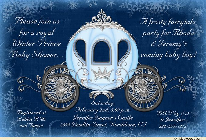 Fairytale Winter Shower Invitation - Snowflake Baby Blue Prince
