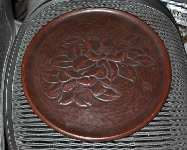 """FINE Signed HAND CARVED Japanese LACQUER WOOD TRAY 12.75"""" Kamakura Bori HAS WEAR"""