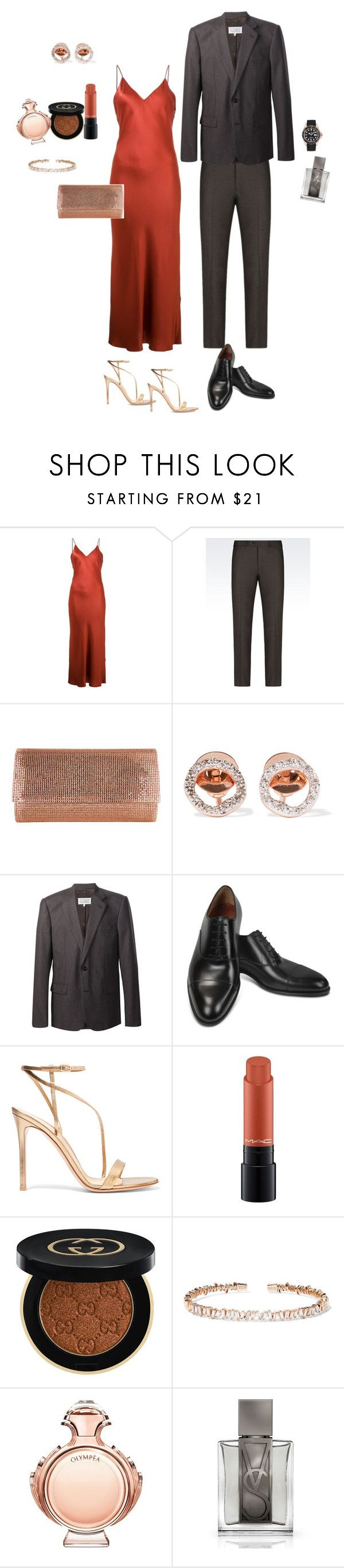 """Untitled #176"" by ms-hinds ❤ liked on Polyvore featuring Protagonist, Armani Collezioni, Judith Leiber, Monica Vinader, Maison Margiela, Fratelli Rossetti, Gianvito Rossi, MAC Cosmetics, Gucci and Suzanne Kalan"