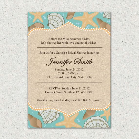 Beach Themed Bridal Shower Invitation And Or Thank You Card Suite Custom Digital Download File