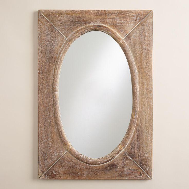 Rustic Wood Shandi Framed Oval Mirror Rustic Wood Oval