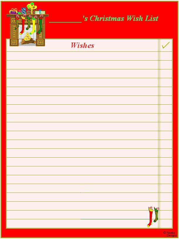 printable christmas list