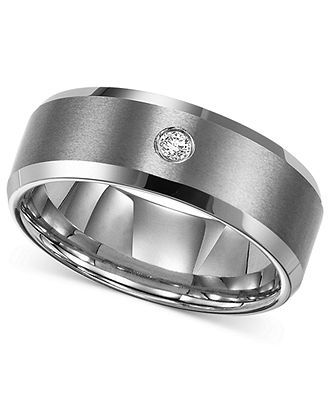 Triton Men's Tungsten Carbide Ring, Single Diamond Accent Wedding Band - Rings - Jewelry & Watches - Macy's