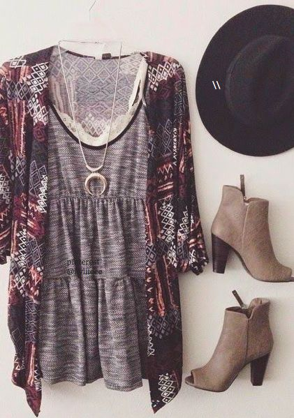 Love this casual yet dressy top, layered with a tribal summery boho cardigan