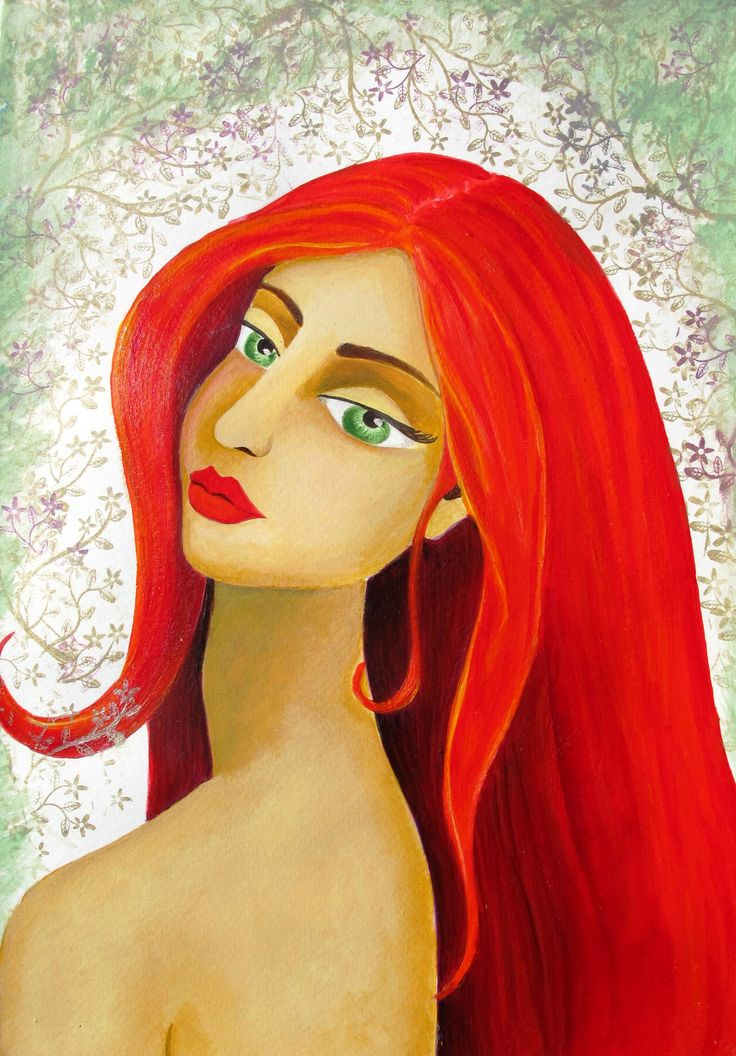 redhead, red hair, illustration, acrylic, painting, portrait