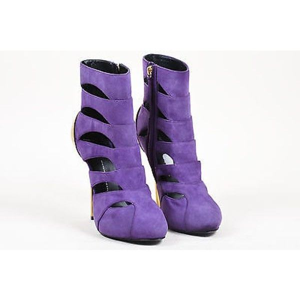 Pre-Owned Giuseppe Zanotti Nwob Purple Suede Cut Out Mirrored Heel... (£225) ❤ liked on Polyvore featuring shoes, boots, ankle booties, purple, suede bootie, short heel boots, short boots, purple suede boots and ankle boots