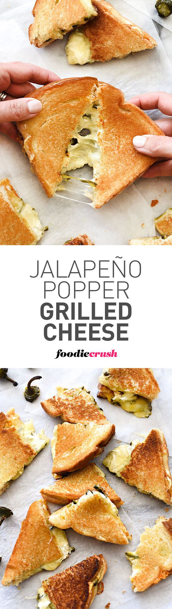 This grilled cheese is like everyone's favorite jalapeño poppers melted between two slices of bread for the ultimate grilled cheese sandwich | foodiecrush.com #sandwich #grilledcheese