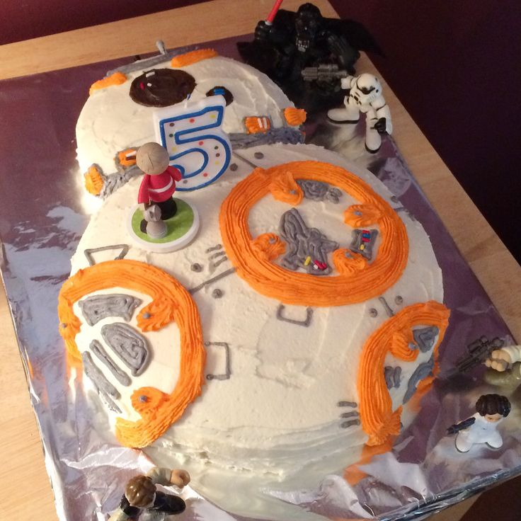 BB-8 / Star Wars birthday cake decorated with buttercream frosting.