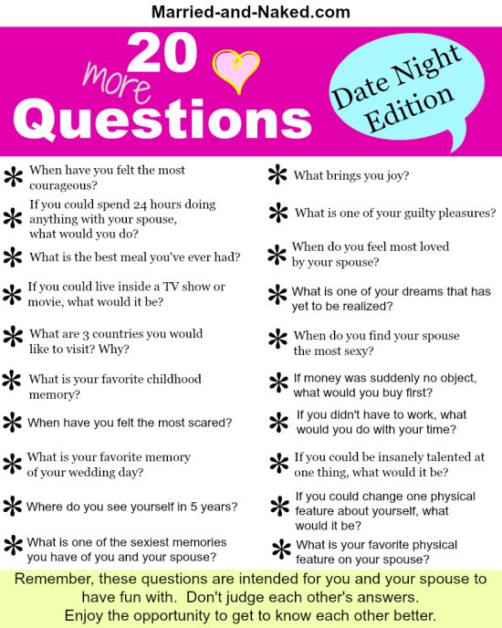 20 Date Night Questions For Married Couples free Printable from the marriage blog  Married and Naked. For more marriage tips and quotes visit http://married-and-naked.com