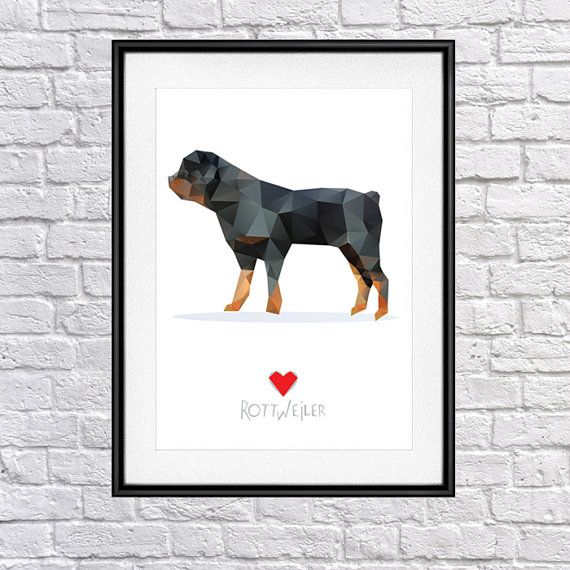 Rottweiler  Digital Poster Print Wall Decor by PSIAKREW on Etsy