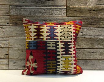 vintage Turkish wool kilim pillow cover