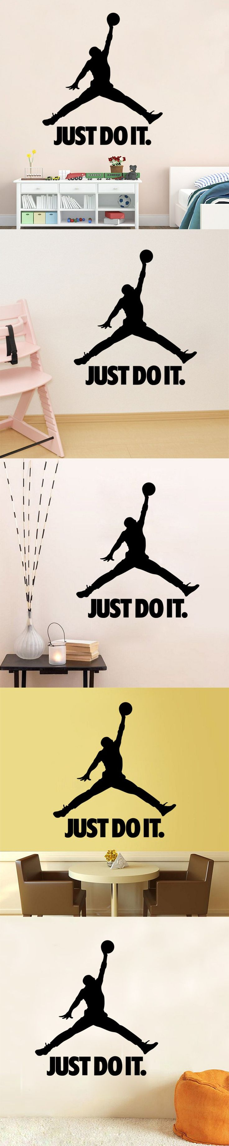 9334 Michael Jordan Basketball Player Wall Stickers For Kids Room DIY Home Decorations Just do it Wall Decals All-Star Wall a1 $6.84