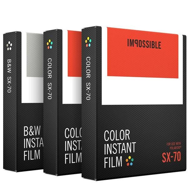 Three packs of film - two color, one black and white, each with eight instant photos per pack. All films feature classic white frames. For use in Polaroid SX-70-type cameras. Images begin to emerge within a minute (b&w) or two (color). Full development takes 5-10 minutes for b&w and 20-30 minutes for color. SX-70 film has a lower ISO than our other films, which makes it perfect for capturing fine detail in well-lit conditions. Our latest film formulas produce photos with depth, contra...