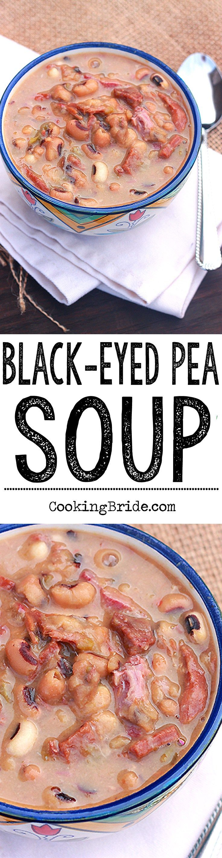 Looking for a tasty black eyed pea recipe for New Year's? Make yourself a pot of this spicy black eyed pea soup with ham.