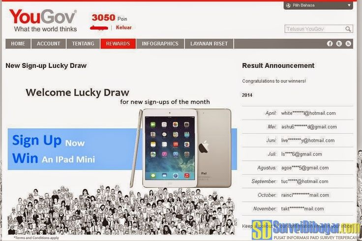Undian iPad dari paid survey YouGov Indonesia | Survei Dibayar