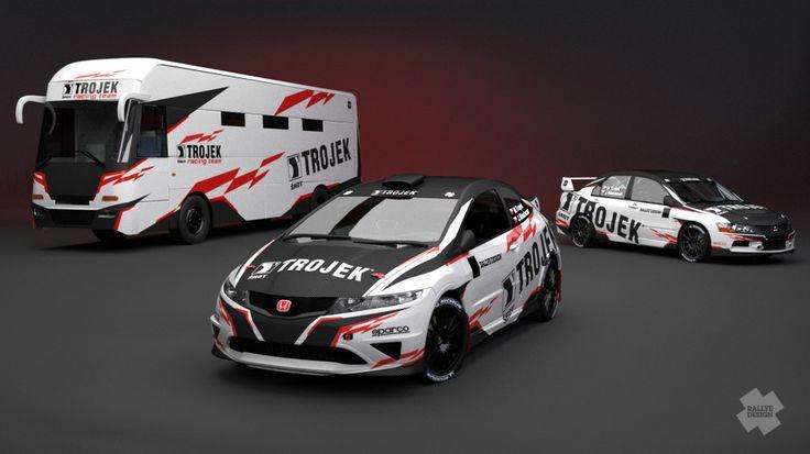 Trojek Racing (Mitsubishi Lancer Evo IX, Honda Civic) - design and wrap for Honda Civic, team bus, redesign of Mitsubishi Lancer Evo IX, team logo, website for 2013.