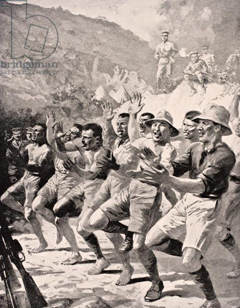 Maori soldiers perform a Haka at Gaba Tepe on the Gallipoli Peninsula Turkey 1915, from 'The War Illustrated Album deLuxe', published in London, 1916 (litho)