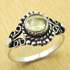 Unique Jewelry - Gift !! Rare LEMON QUARTZ ANTIQUE LOOK Ring Size US 7 ! Silver Plated Jewelry
