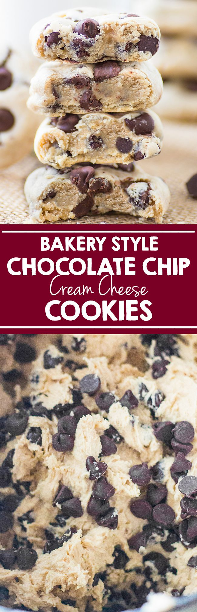 The most delicious bakery style soft and chewy Chocolate Chip Cookies with a secret ingredient that will make all the difference! #food #cookie #chocolate #christmas