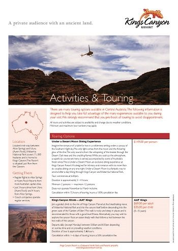 Activites and Touring Brochure
