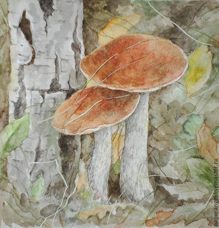 Купить Подберезовик. Акварель - бумага, акварель, рисунок, картина, грибы, трава, бумага акварельная, акварель