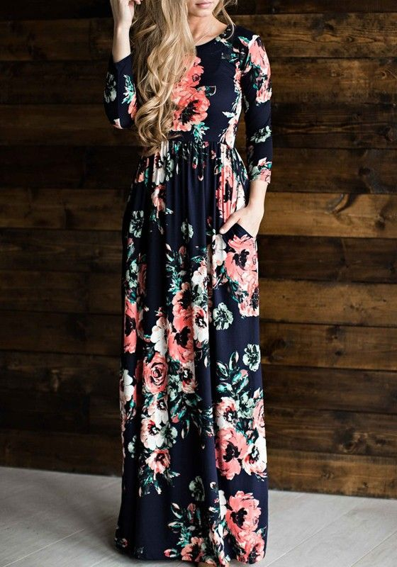 3ecf081f009 Navy Blue Flowers Print Pleated Long Sleeve High Waisted Bohemian Maxi Dress