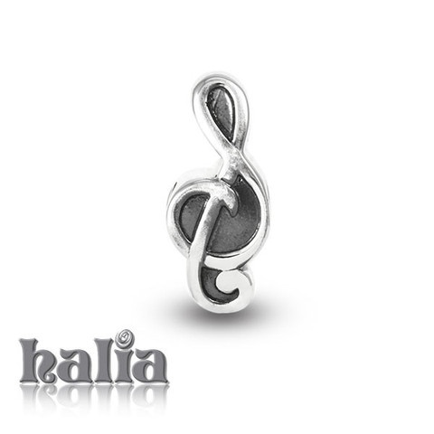 Treble Clef: Oxidized treble clef bead: designed exclusively by Halia, this bead fits other popular bead-style charm bracelets as well. Sterling silver, hypo-allergenic and nickel free.    $35.00