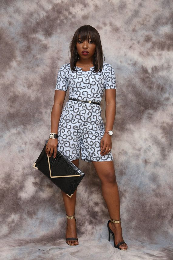 African print playsuit knee length african clothing african