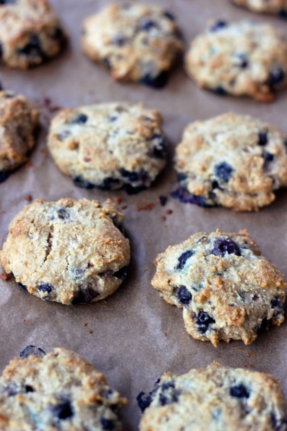 So YUMmY!!!  I used cheap ground almonds from Fleet Farm - rather than the expensive almond meal, butter, honey, and chopped pecans In place of the almond slivers, and dusted the tops with a bit of raw sugar and cinnamon.  These are so tasty!!  Grain-Free Blueberry Almond Breakfast Cookies {Gluten-free + Vegan}      Grain-Free Blueberry Almond Breakfast Cookies | Free People Blog