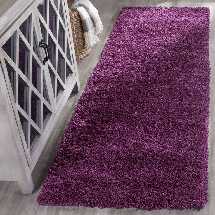 Safavieh California Cozy Solid Purple Shag Rug (2' 3 x 5') (SG151-7373-25), Size 2' x 5'