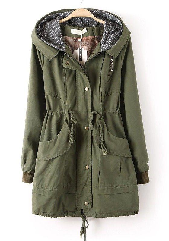 Army Green Zipper Drawstring Pockets Cotton Trench Coat
