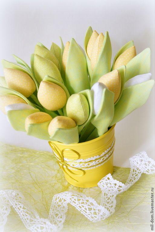 Купить Желтые тюльпаны - зеленый, тюльпаны, тюльпан, тюльпаны из ткани, тюльпаны тильда, букет
