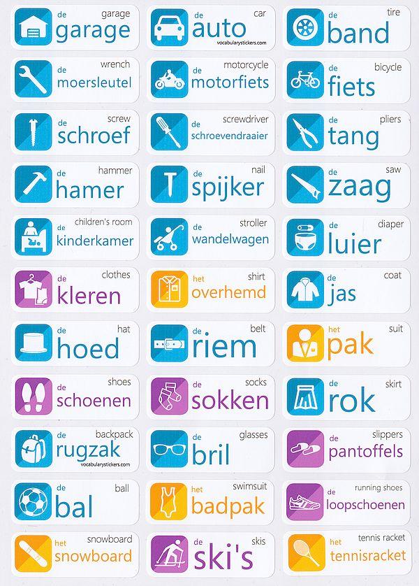 Dutch vocabulary sticker : garage