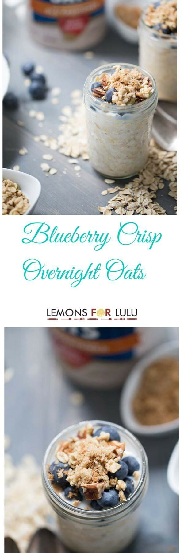 Supercharge your mornings with this easy overnight oats recipe! Fresh, plump blueberries, nuts and spices make this blueberry crisp flavored oatmeal a delicious breakfast everyone will love! lemonsforlulu.com #healthy #breakfast
