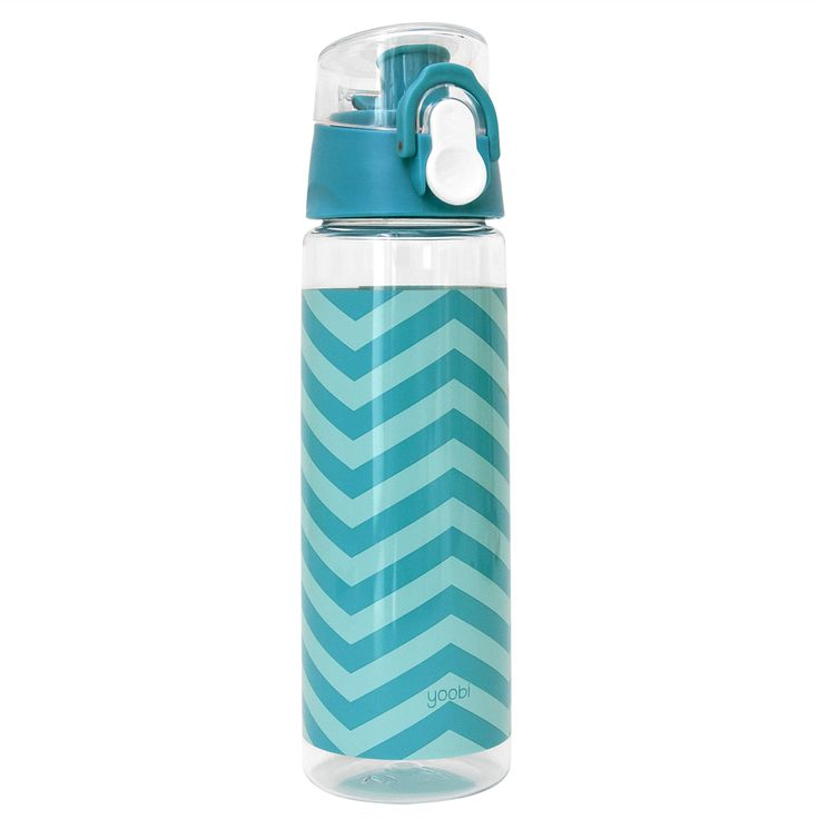 Thirsty Fun. When dehydration calls, you must answer. Our new handy BPA-free aqua chevron printed water bottle is perfect for all ages. With a lockable cap, spills are prevented. You buy, Yoobi gives