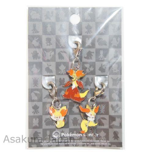 Pokemon Center Limited Fennekin Braixen Delphox Metal Charm SET XY KEY Chain | eBay