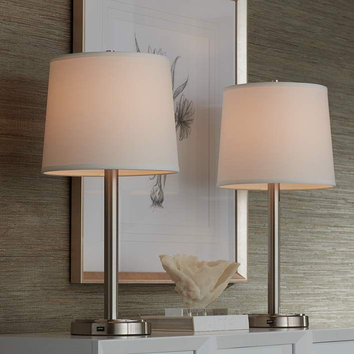 Camile Metal Usb Port Table Lamps Set Of 2 1y115 Lamps Plus Table Lamp Sets Table Lamp Lamp