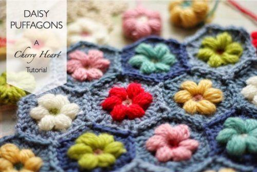 Crochet Hexagon Granny Square Puff Daisy Blanket Free Pattern