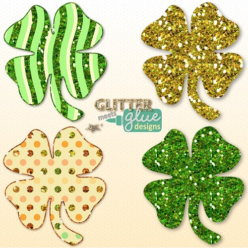Lucky Leprechaun's Glittery St. Patrick's Day Shamrocks Clipart Pk 1- Commercial use - #art #teacher #education #teaching #tpt #stpattysday #saintpatricksday #shamrock #clipart #graphics
