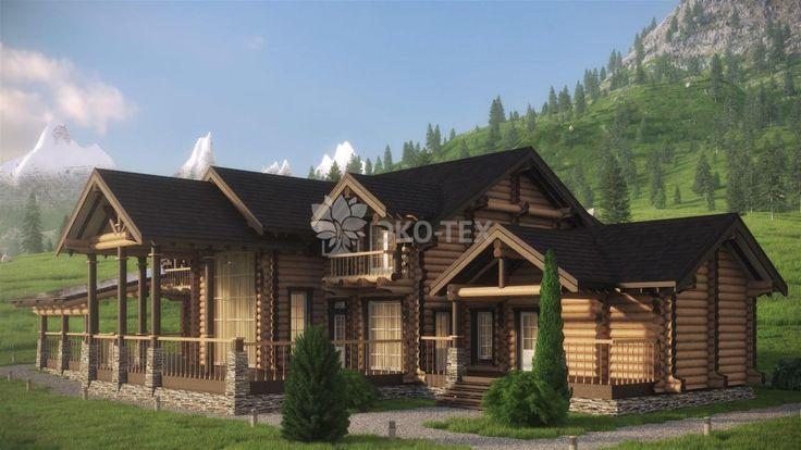 Эко-Тех: проект большого деревянного дома из бревна Ранчо 555 кв.м.