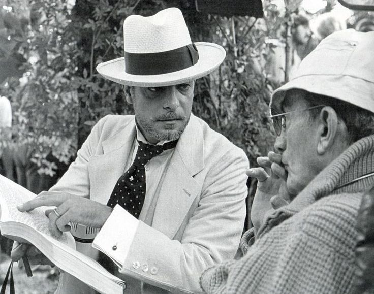 Giancarlo Giannini with Visconti during the filming of L'Innocente