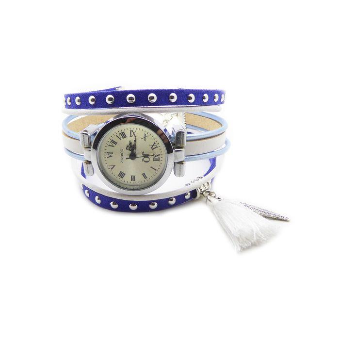 Kit Bracelet montre suédine cloutée bleu royal 5mm, cuir rond 2mm bleu clair métallisé et blanc, : Kits, tutoriels bijoux par mf-apprets-et-perles