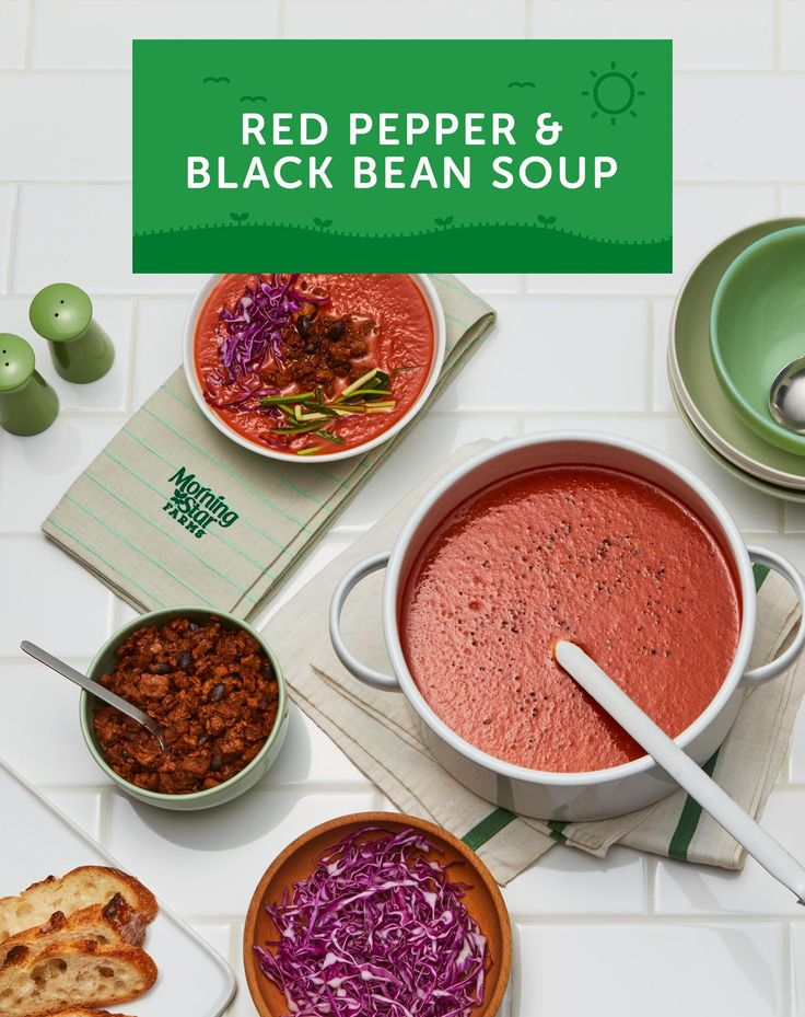It's cold outside, which means it's soup time! Whip up a batch of this delicious Red Pepper & Black Bean Soup for dinner tonight. Just cook roasted red peppers along with onion and carrot in vegetable broth then puree it all in your blender. Top with MorningStar Farms Chipotle Black Bean Crumbles and enjoy!